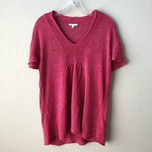 Eileen Fisher V Neck Linen Short Sleeve Sweater L